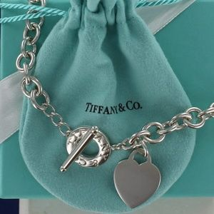 Tiffany Plain Heart Tag Toggle Necklace Choker